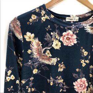 🇺🇸 Ginger G. Teal Velvet Bird & Floral Crop Top